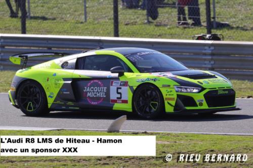 l'Audi R8 LMS de Huteau-Hamon avec un sponsort XXX